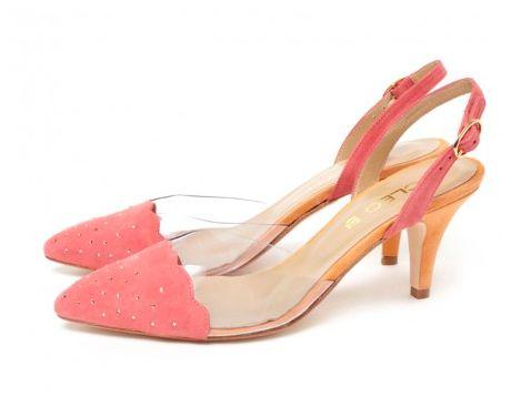 CLEO B 'Ringo' pink and orange low-heeled sandal. #sea #monsters #summer #collection #beatles #inspiration #pink #orange #heel #kitten #swarovksi #crystal #shoes #fashion #designer #london #ringo