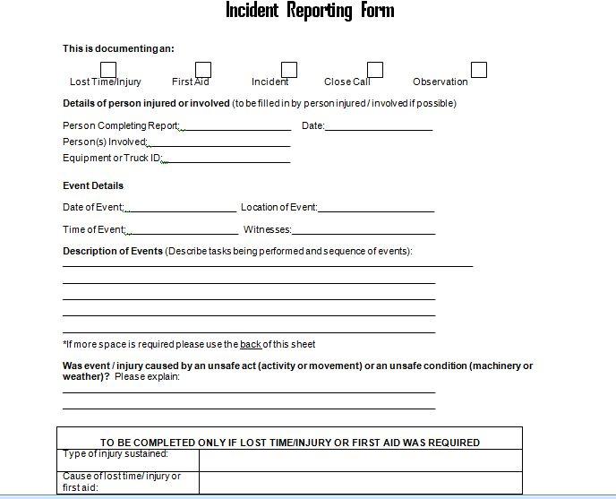 get employee incident report form doc  u2013 project management