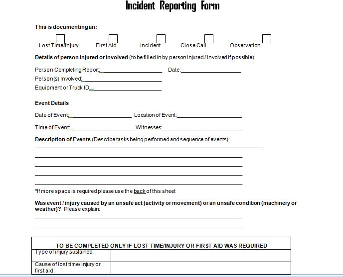 Get Employee Incident Report Form Doc Project Management – Patient Incident Report Form