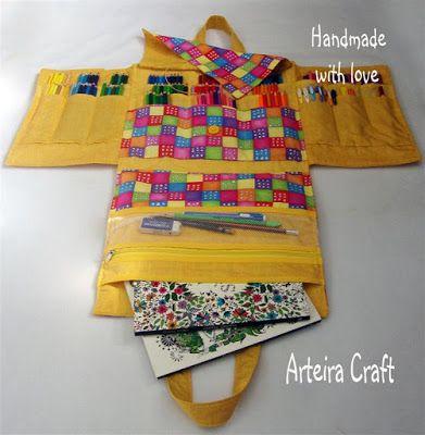 Arteira Craft: MEGA Bolsa para Livros de Colorir e porta lápis de cor, pinceis, etc...