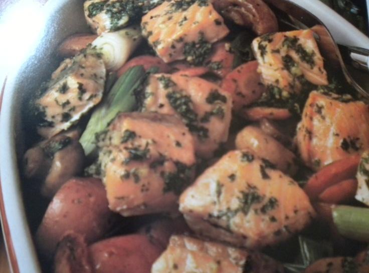 Roasted Salmon, Carrots,Mushrooms
