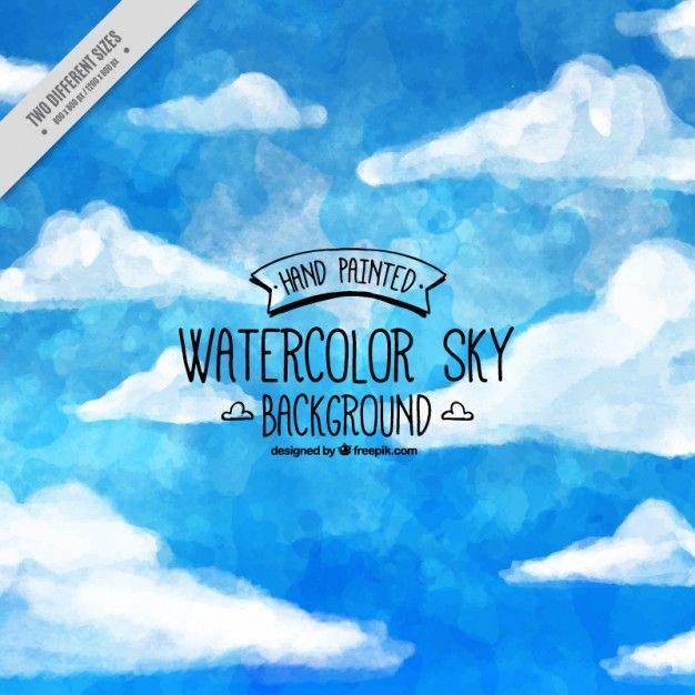 Cielo azul con nubes de fondo en acuarela