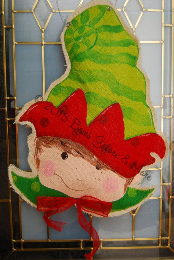 Ready to ship hand painted santas red green striped elf for Red elf door