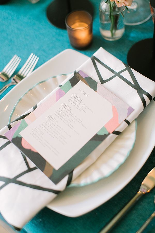 Modern geometric linens for place settings