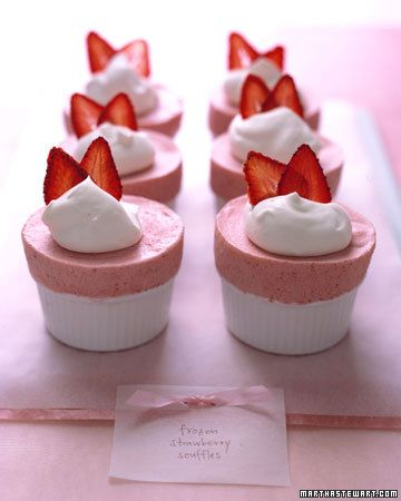 Frozen Strawberry Souffles Recipe -- serve souffles with whipped cream and candied strawberry chips.