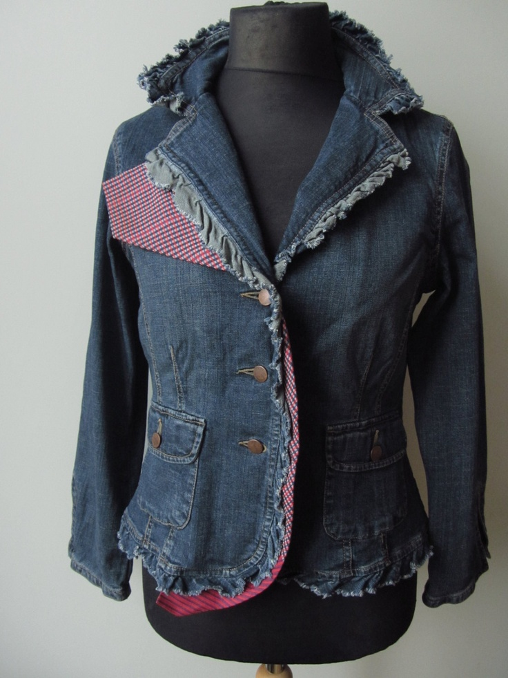 Upcycled Jean Jacket detailed with a Man's Necktie / Flower Brooch / Women Outerwear Jackets Blazers / Upcycled Clothing