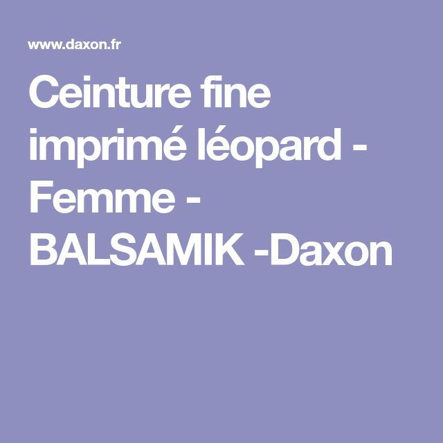 Ceinture fine imprimé léopard - Femme - BALSAMIK -Daxon
