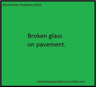 Broken glass on pavement.