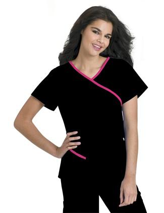 Contrast Wrap Around Tunic #9568    #scrubs #UrbaneScrubs #nurse #nursing #nurses #health #healthcare #breastcancer #awareness @UrbaneScrubs