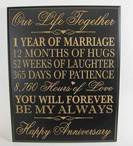 "1st Wedding Anniversary Wall Plaque Gifts for Couple, 1st Anniversary Gifts for Her,1st Wedding Anniversary Gifts for Him 12"" W X 15"" H Wall Plaque By Dayspring Milestones (Black) *** Visit the image link more details."