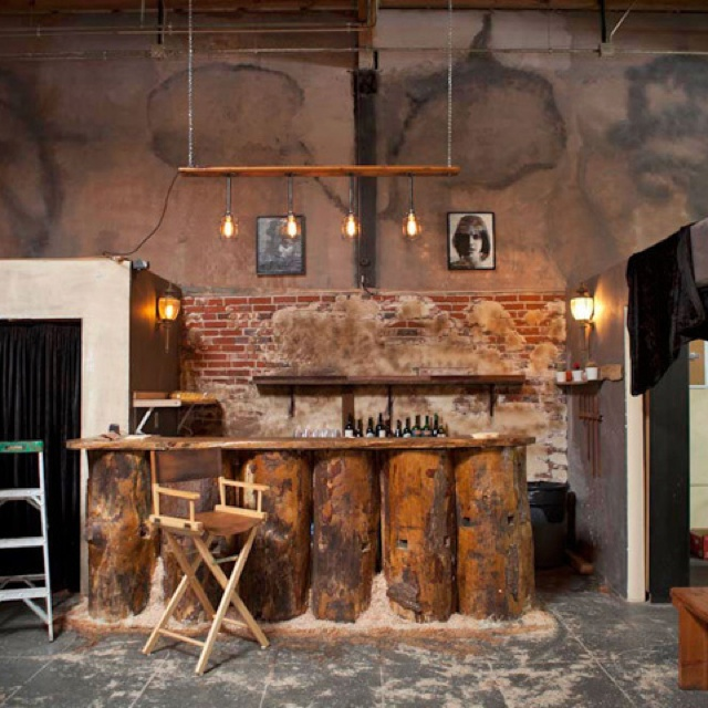 Just a really cool industrial chic exposed brick bar for Cool brick wall designs