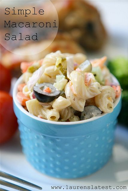 Simple Macaroni Salad by laurenslatest, via Flickr...use veganaise and g/f pasta to make this veg and g/f friendly