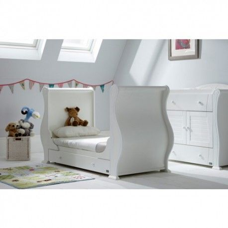 This White Cot Bed is made of solid wood. The children's white Cot Bed has been constructed with solid wood, this cot bed has smooth panels with a lovely finish and is designed to grow with your little one easily converting into a junior bed.  Suitable from birth up to approximately 6 years Converts into a junior bed Three position bed base Fixed side cot  Two protective teething rails Dimensions are :  Length : 176 cm Width: 75 cm Height : 101 cm Footboard Height : 33 cm