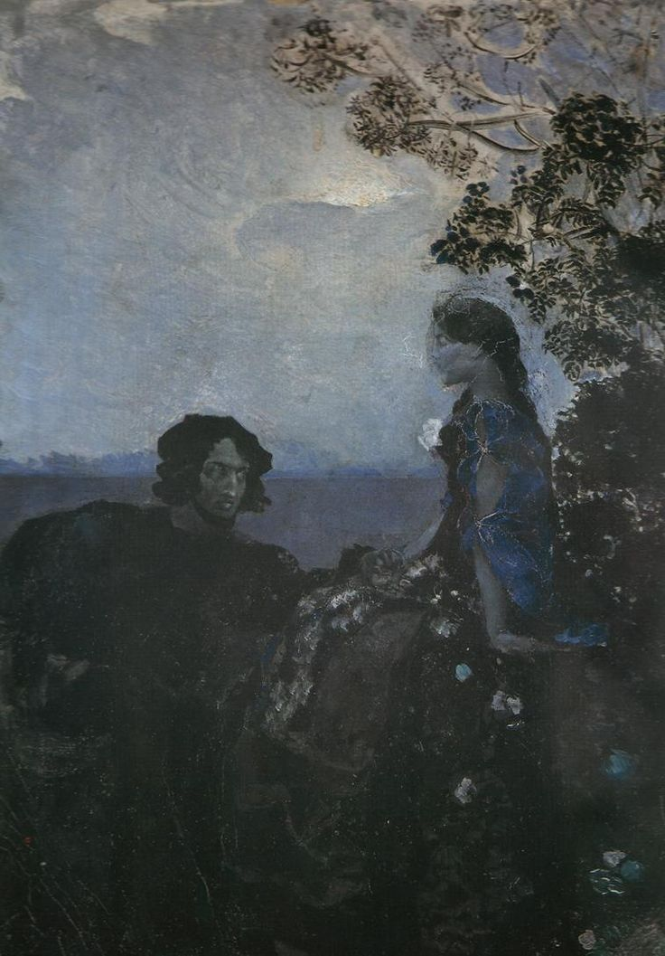 """Hamlet and Ophelia""  by Mikhail Vrubel (1888)"