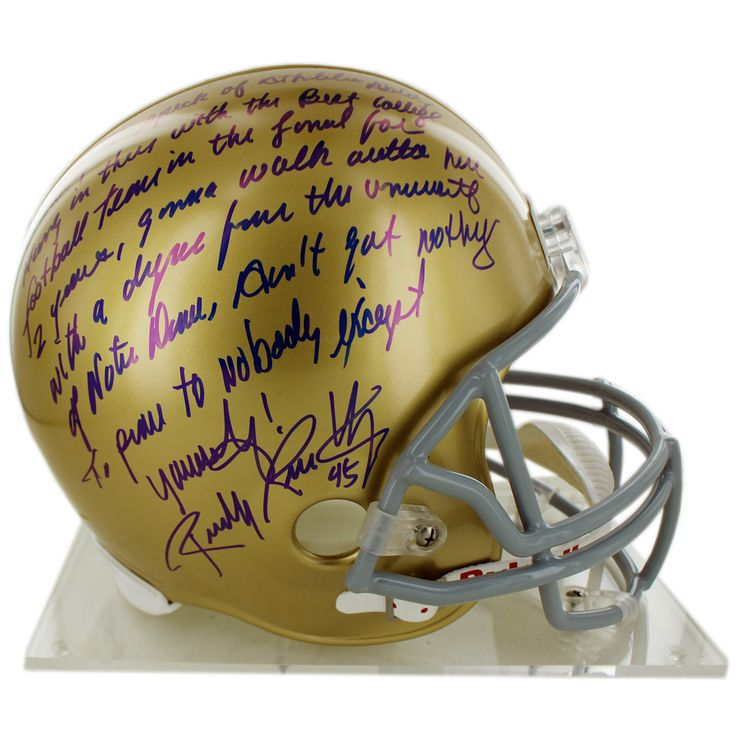 Rudy Ruettiger Signed Replica Notre Dame Full Size Helmet w Five Foot Nothing… quote (Signed in Blue) - Rudy Ruettiger personally hand-signed this Replica Notre Dame Full Size Helmet and inscribed it long 5 Foot Nothing signed in blue-An undersized kid with over-sized dreams Rudy repeatedly was told he was too small to play football. While at Notre Dame Ruettiger was part of the scout team and on the last play of the final game of his senior year Rudy finally was put in. Ruettiger made the…