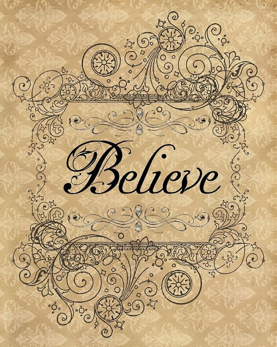 BELIEVE Art Print 8x10 vintage style, romantic, fairytale, enchanted, inspirational quote, collage, cottage chic