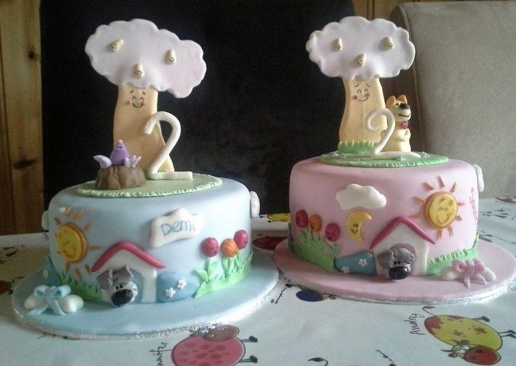 Woezel and Pip Cake . T-Gård SweetCakes SmartFlex Velvet Fondant - Saracino Modelling Paste - Trucolor Natural Gelcolors.