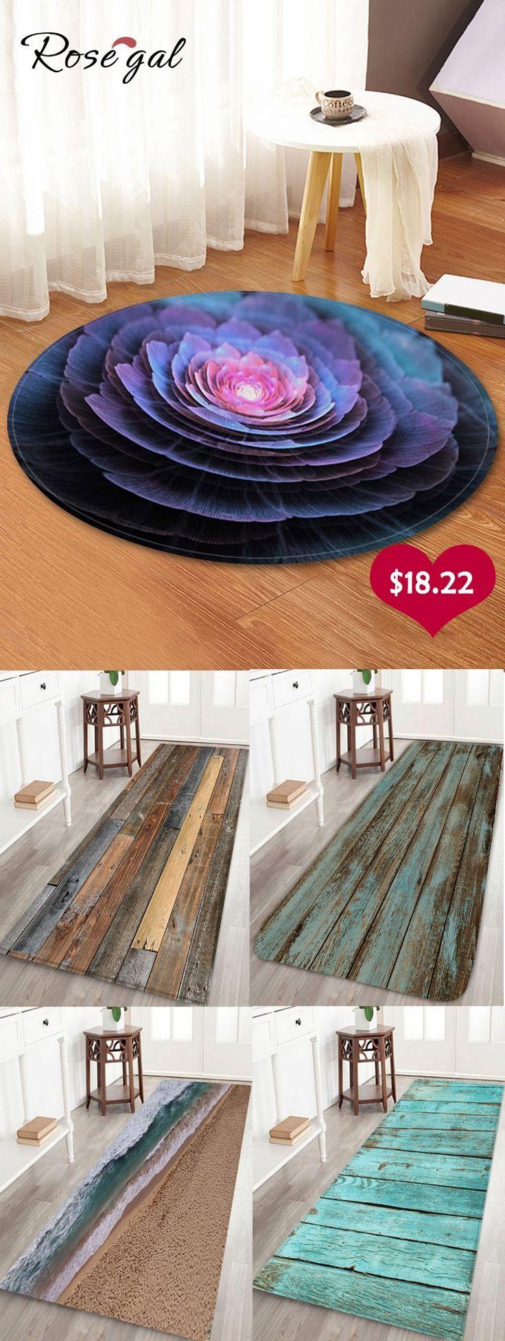 3D Flower Print Round Coral Fleece Floor Rug – 120 Cm (round)