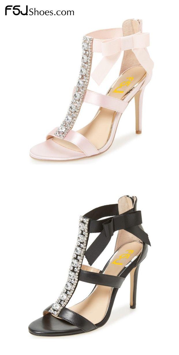 62750670b20 Pink Bridal Sandals Satin T-strap Rhinestone Stiletto Heels by FSJ ...