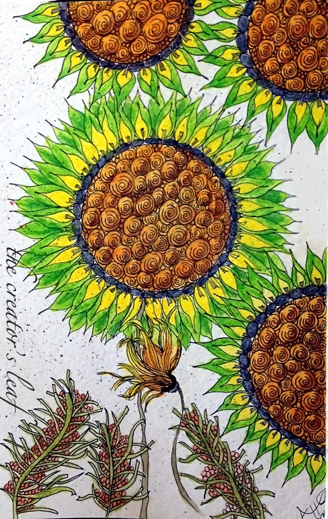 done with derwent inktense pencils http://thecreatorsleaf.blogspot.com/2012/10/watercolored-sunflowers.html