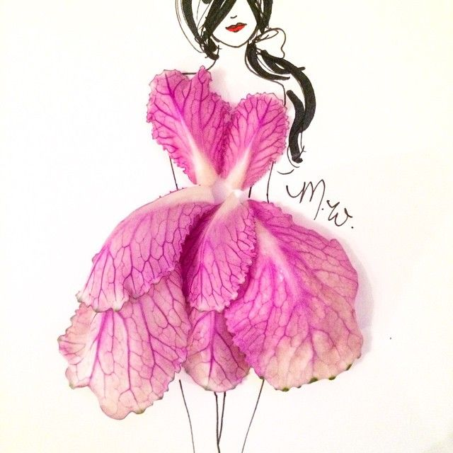 Fashionable dress sketches with flowers