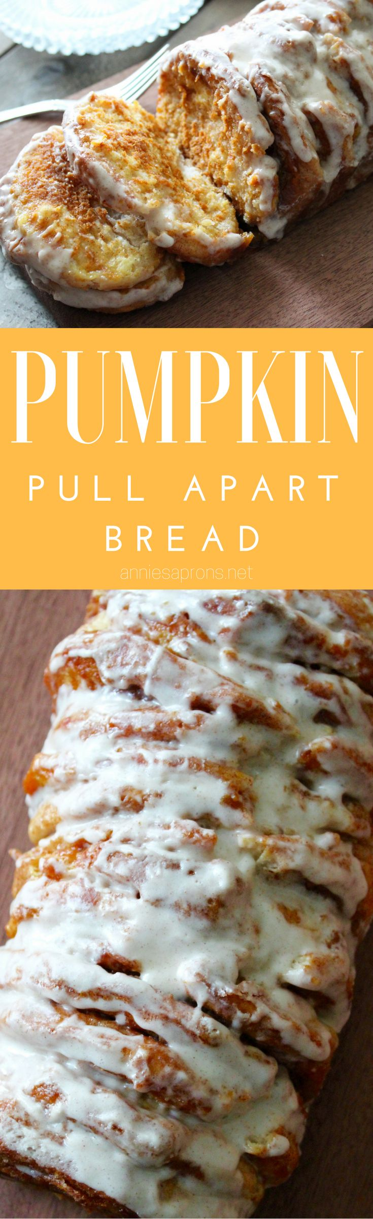 The BEST EVER Pumpkin Pull Apart bread. This recipe is super easy and uses canned biscuits, pumpkin pie mix and a sweet glaze. So good!