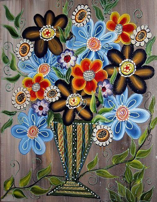 RED BLUE YELLOW BOUQUET IN A RUSTIC POT-  Luiza Vizoli