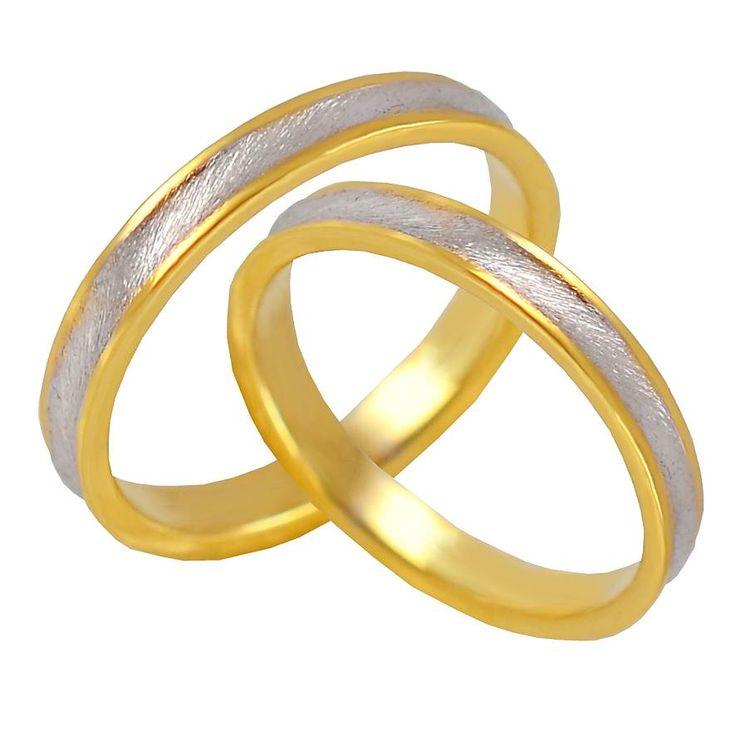 V42-318-30ΔΧ Δίχρωμη χρυσή βέρα γάμου από 226 € το ζευγάρι.