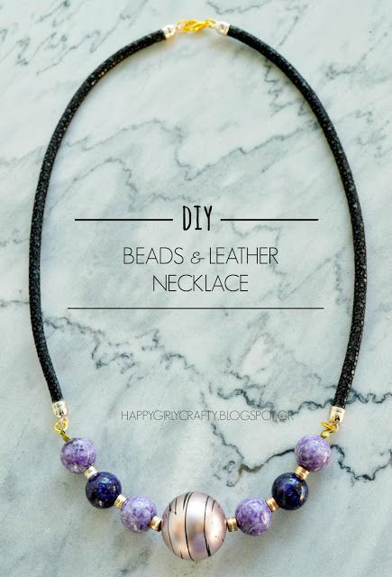 DIY classy leather and beads necklace