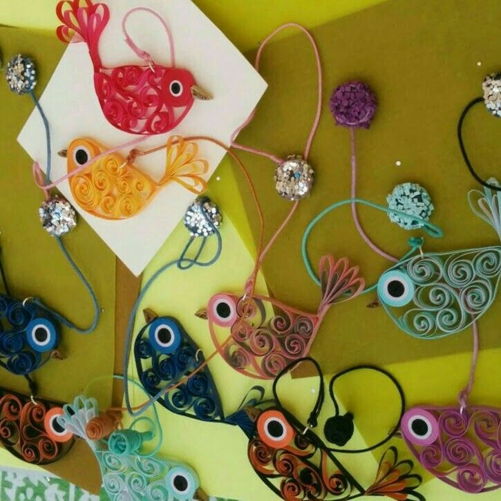 Paper quilled bird fridge magnets