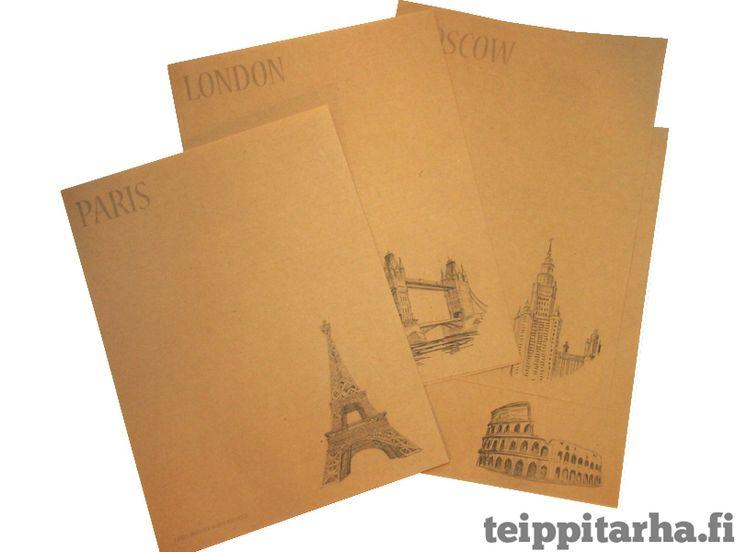 Kirjepaperi, pääkaupungit (ruskea, 8kpl) 5 e