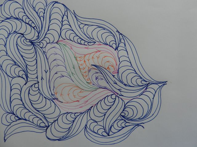 Flutter - s curves & bannana's.    echo'd s curve (about 4),  start next s from middle, fill space between with bannana's til reach the top of one of the s's.  Then start another s.  continue.   Can also fill in with some feathers instead of all bannana's.