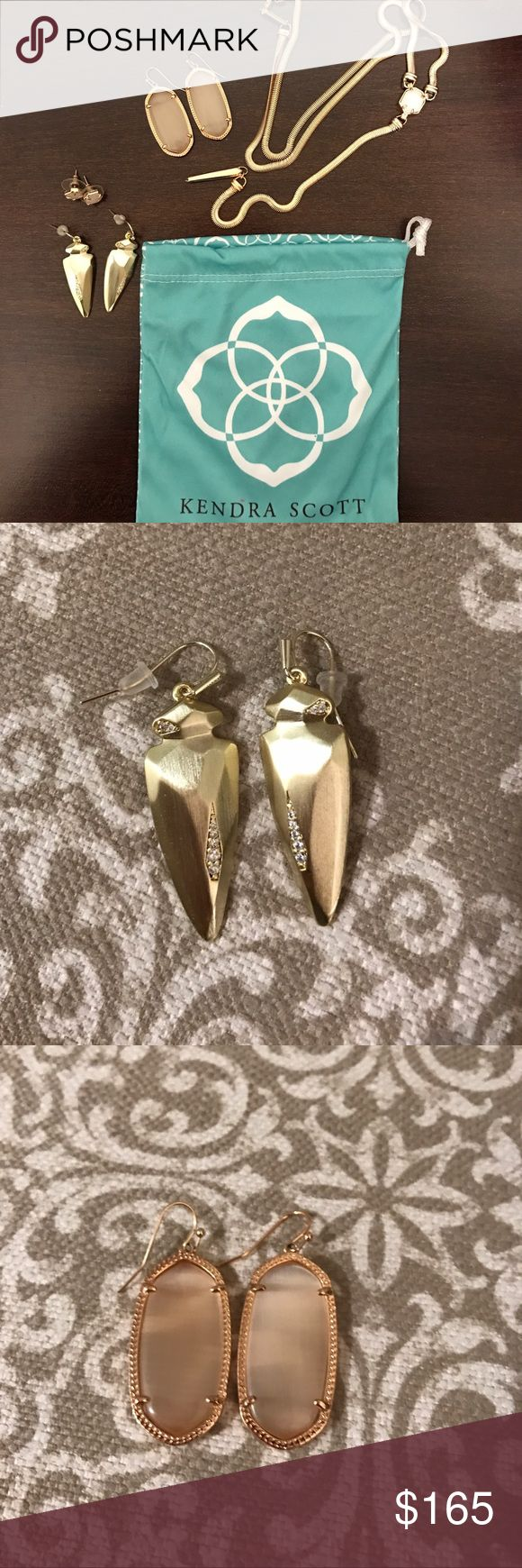 Kendra Scott Lot (5 Items) Necklace & Earrings Lot - All Authentic! Valued at $350+. Includes 4 pairs of earrings & 1 necklace.  - Everything shows no sign of wear, no tarnishing. Pics zoomed in to show detail.  - Starla necklace rose gold & Iridescent drusy ($110). Logan earrings rose gold & Iridescent drusy ($65). Elle earrings rose gold & peach cat eye (no earring backs $55). Stephanie earrings gold ($75). Madina earrings gold ($50). 1 KS dust bag.   🚫🚫🚫 NO TRADES.  ⭐️⭐️⭐️ TOP RATED…