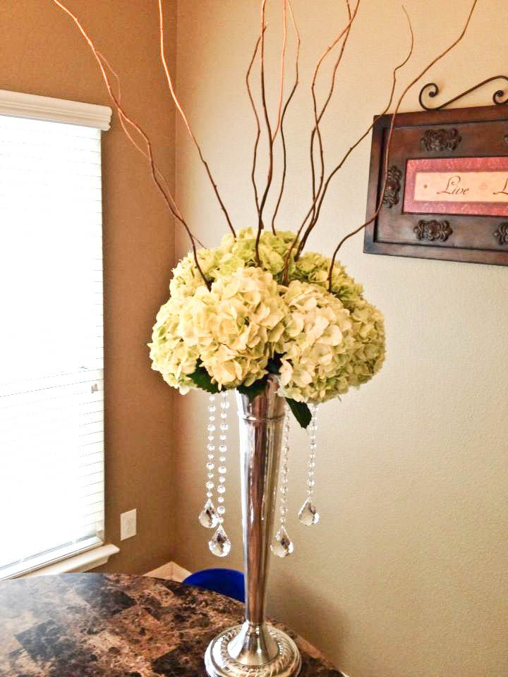 Tall willow branch centerpiece with crystals by Flower Shack Blooms serving San Antonio and surrounding area
