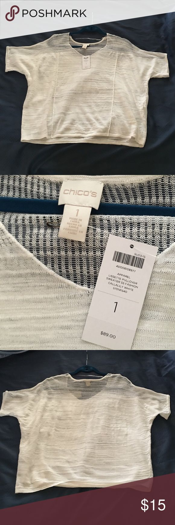 Chico's ss light sweater top. NWT. Chico size 1 Chico's short sleeve sweater top.  Chico size 1. Approx m/l.  Tag says Lisette pullover in callalily white color.   It's an off white color. New with tags.  Excellent condition. Chico's Tops
