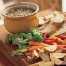 Bagna Cauda = 375mL olive oil + 4-5 cloves garlic + 6 anchovy fillets + 1/4 stick butter