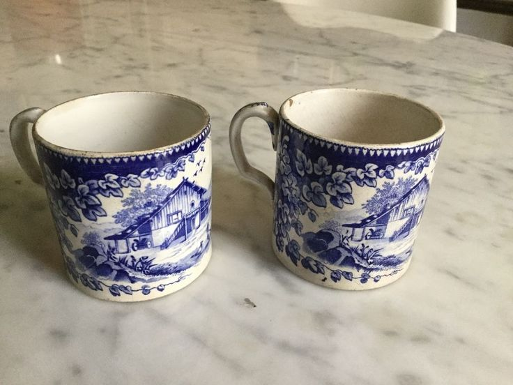 Paire de tasses à café XIXeme CREIL & MONTEREAU Manuf Lebeuf&Cie 1840 1875