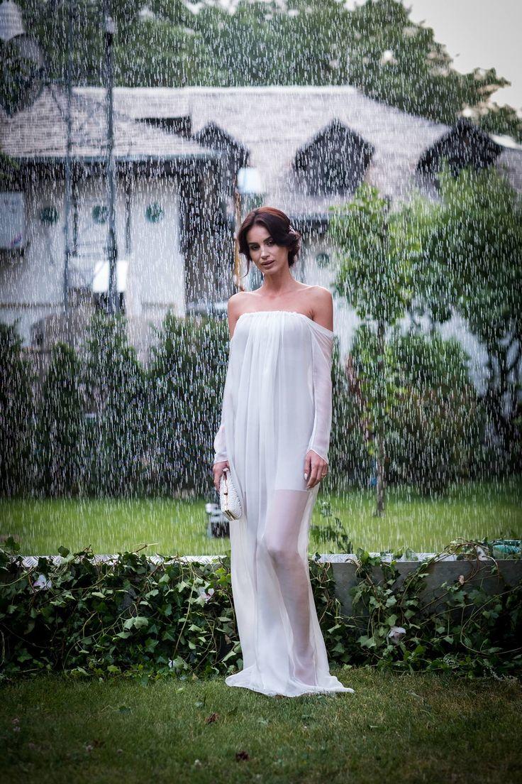 Geanina Ilies @Silk Essentials Garden Party ^Off-shoulder Silk-chiffon maxi Dress