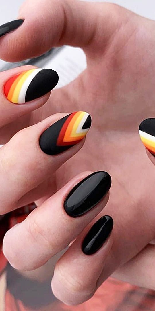 33 Black Nails Design Ideas. 2019 Acrylic, Coffin, Polish, Matte and Manicur Methods. Page 28