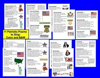 $ Memorial Day Poems/Songs - 11 Patriotic Poems - Shared Reading and Fluency -  16 Pages – 2 versions of each – color and B/W - Sing to popular children's songs.  Enjoy poetry and songs while learning about Patriotism.  Use during shared reading or guided reading.