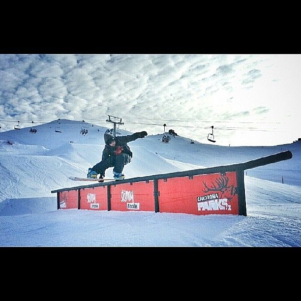 Kevin from the crew boardsliding the new flat up donkey in the Playzone. #Cardrona #Cardronaparks