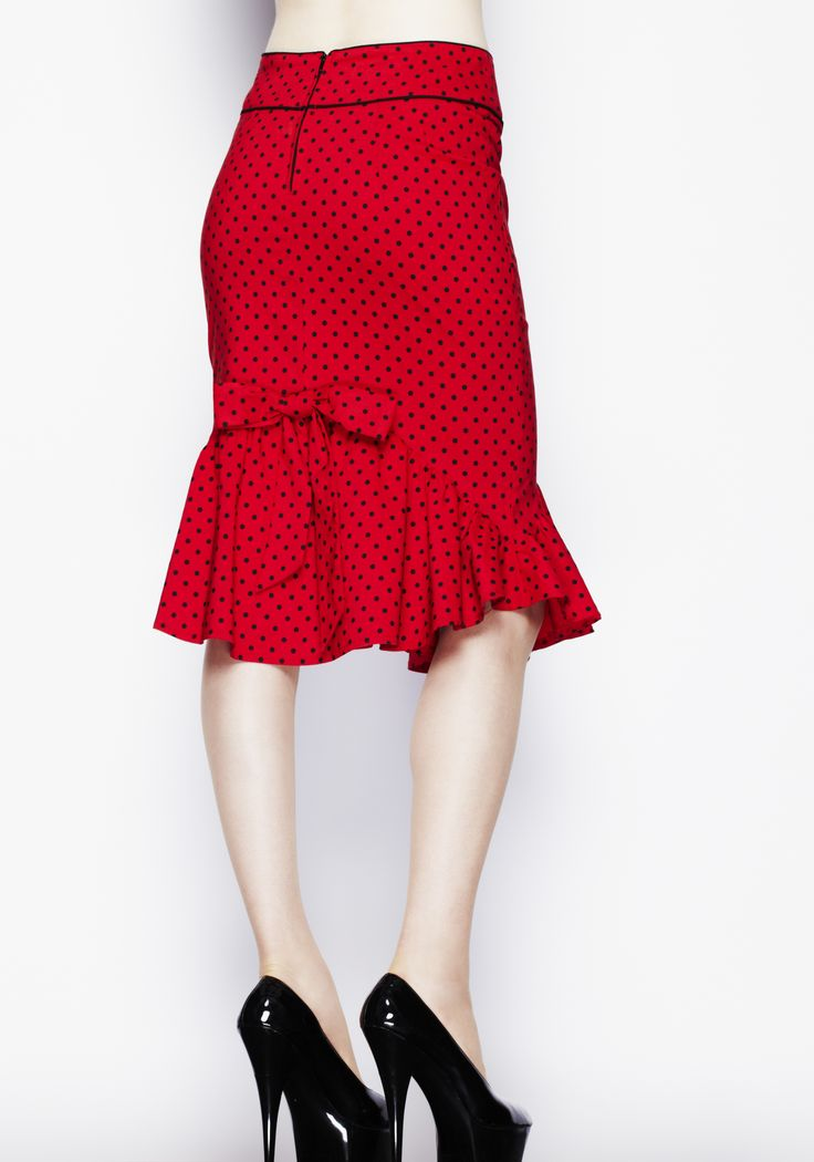 Hell Bunny Red Momo 50s Pencil Wiggle Skirt - Bonnie's Delight