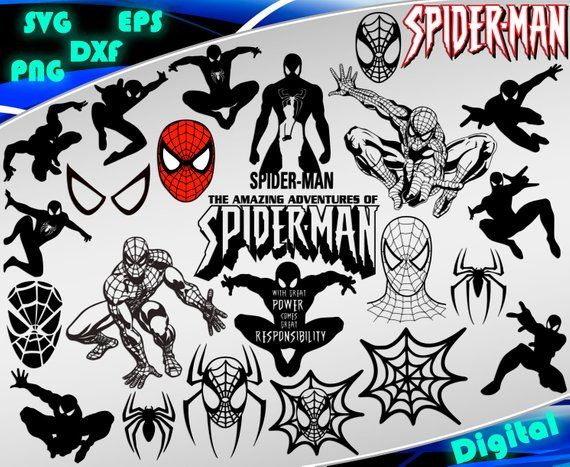 Spiderman svg Clipart Superheroes svg Spiderman silhouette