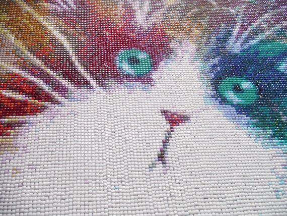 Technicoloured Diamond Mosaic Cat Painting #diamondpainting #mosaic #cat