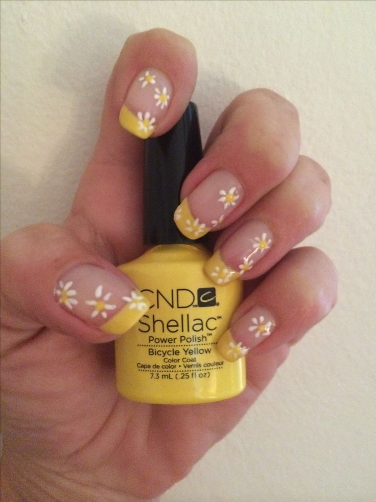 CND Brisa Smoothing Gel with Bicycle Yellow & Cream Puff Shellac simple nail art #nailart #french #flowers