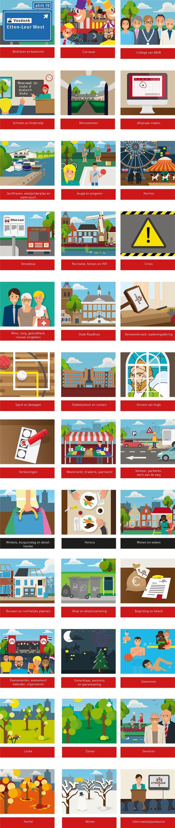 Illustraties voor de toptakenwebsite van de gemeente Etten-Leur.