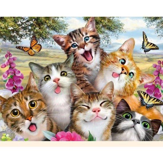 Cute Cat 5D Diamond Painting DIY Embroidery Cross Stitch Kit Mosaic Home Decor