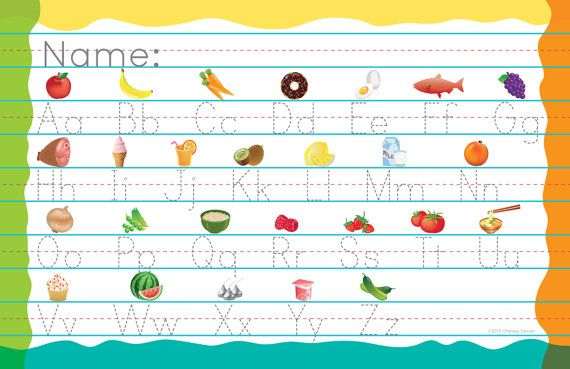 Alphabet Printing Practice Placemat by ChelseyDesignCanada on Etsy, $8.00