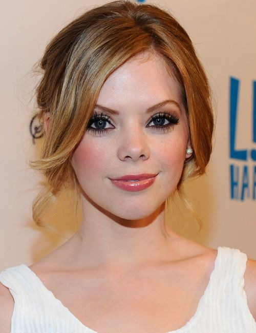Dreama Walker. She looks like an anime character in the best way. Love this look for a wedding.
