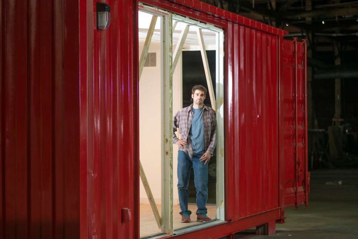 Patrick Collins, chief executive of Montainer, in a shipping container home module that is under construction.